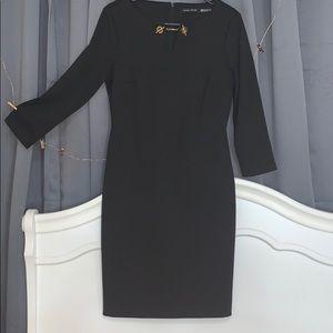 Black Ivanka trump 3/4 sleeve midi dress v-neck